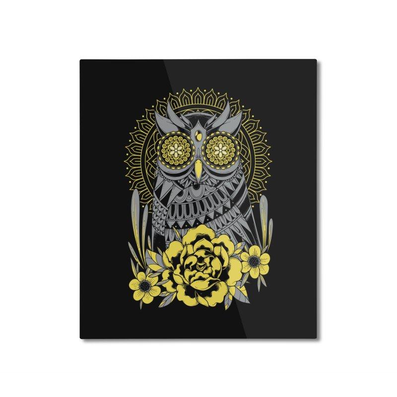 Golden Eyes Owl Home Mounted Aluminum Print by godzillarge's Artist Shop