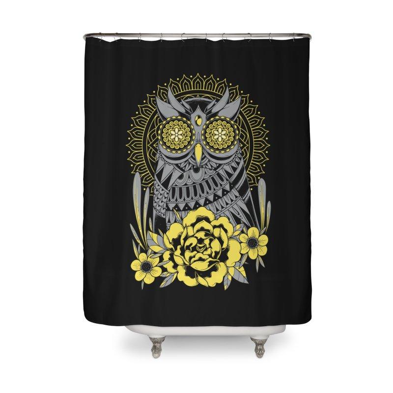 Golden Eyes Owl Home Shower Curtain by godzillarge's Artist Shop