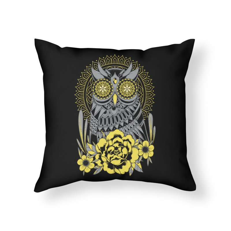 Golden Eyes Owl Home Throw Pillow by godzillarge's Artist Shop