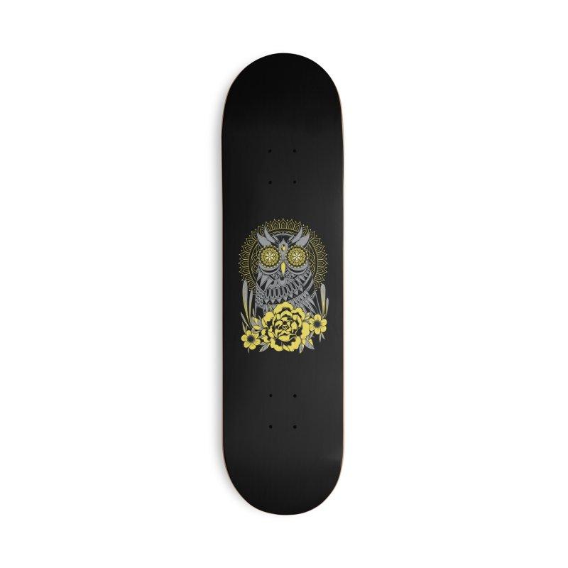 Golden Eyes Owl Accessories Skateboard by godzillarge's Artist Shop
