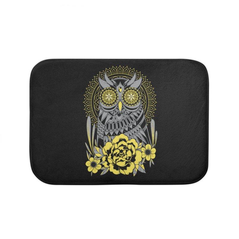 Golden Eyes Owl Home Bath Mat by godzillarge's Artist Shop