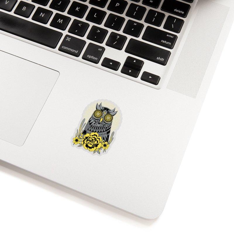 Golden Eyes Owl Accessories Sticker by godzillarge's Artist Shop
