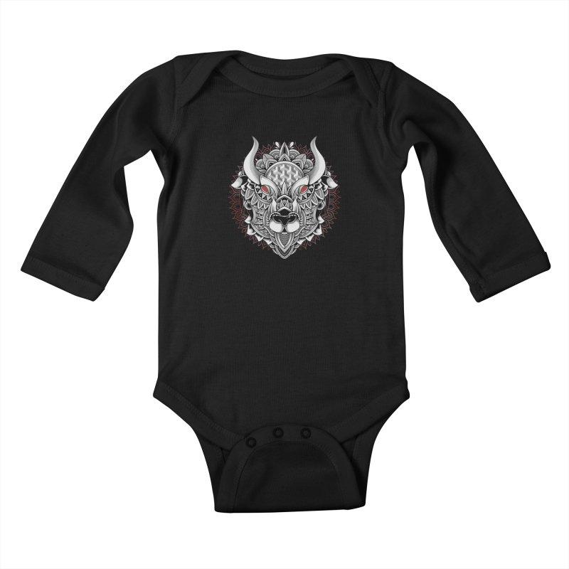Ox Mandala Kids Baby Longsleeve Bodysuit by godzillarge's Artist Shop