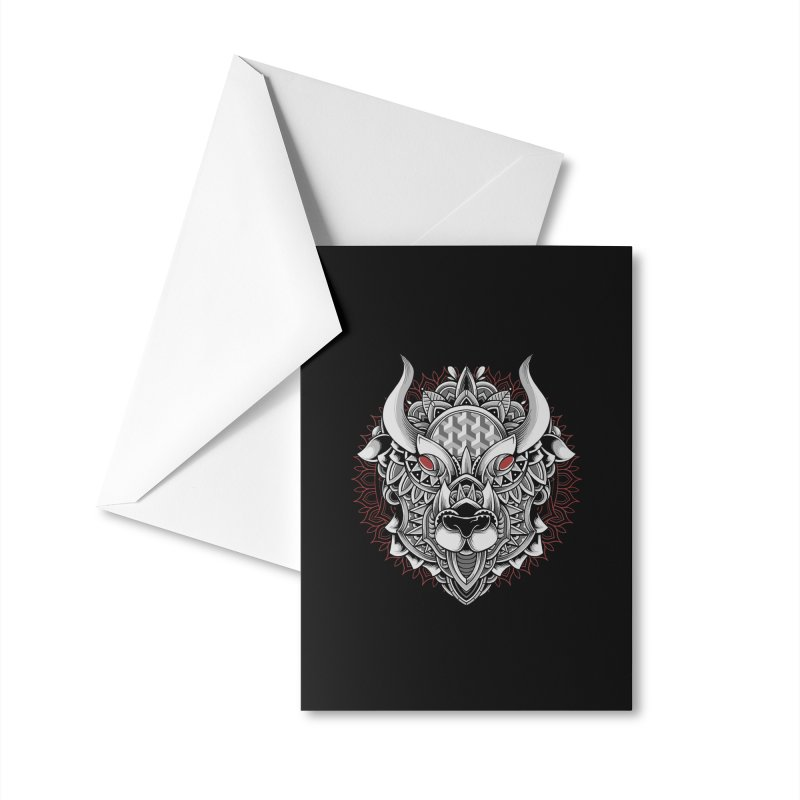 Ox Mandala Accessories Greeting Card by godzillarge's Artist Shop