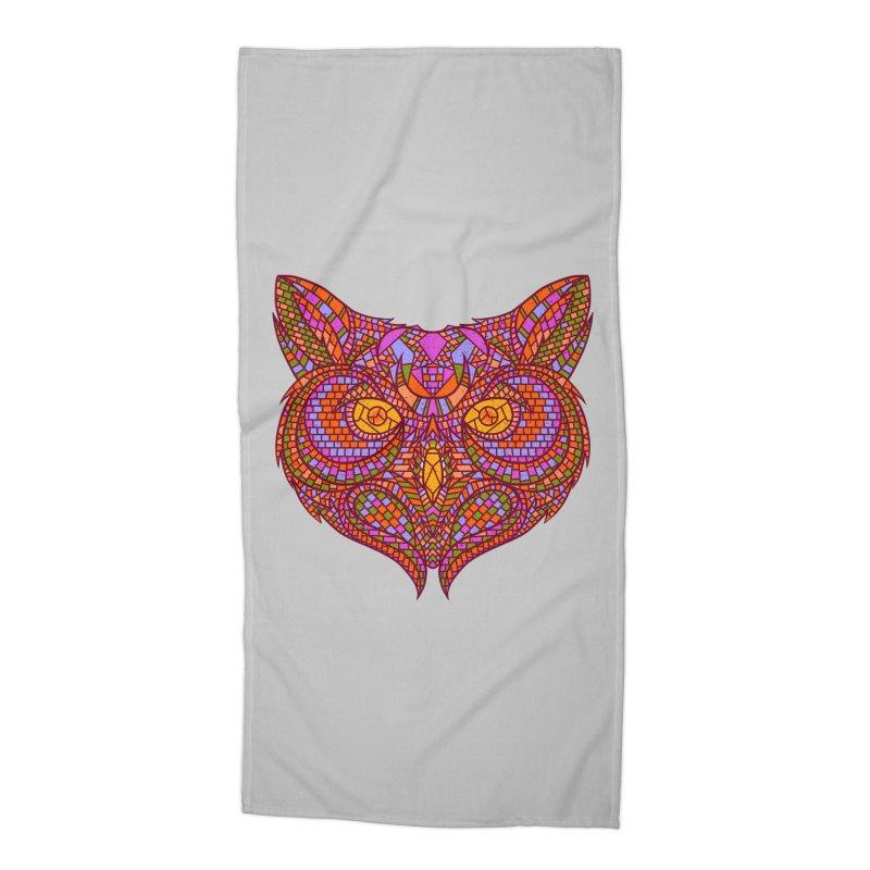 Owl Mosaic Accessories Beach Towel by godzillarge's Artist Shop