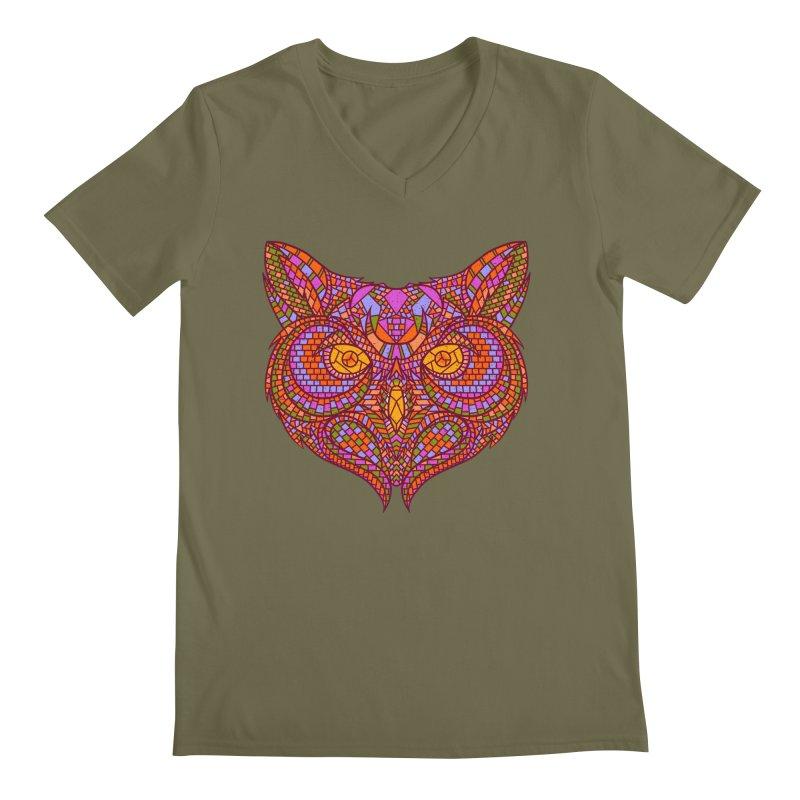 Owl Mosaic Men's V-Neck by godzillarge's Artist Shop