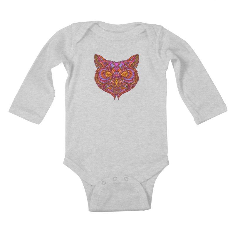 Owl Mosaic Kids Baby Longsleeve Bodysuit by godzillarge's Artist Shop