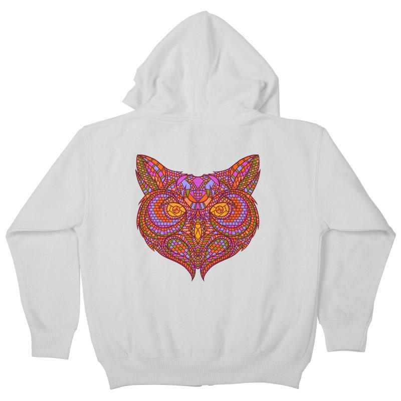 Owl Mosaic Kids Zip-Up Hoody by godzillarge's Artist Shop
