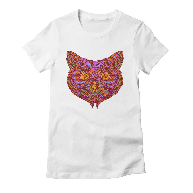 Owl Mosaic Women's Fitted T-Shirt by godzillarge's Artist Shop