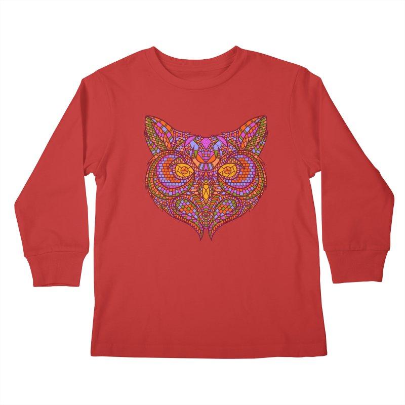 Owl Mosaic Kids Longsleeve T-Shirt by godzillarge's Artist Shop