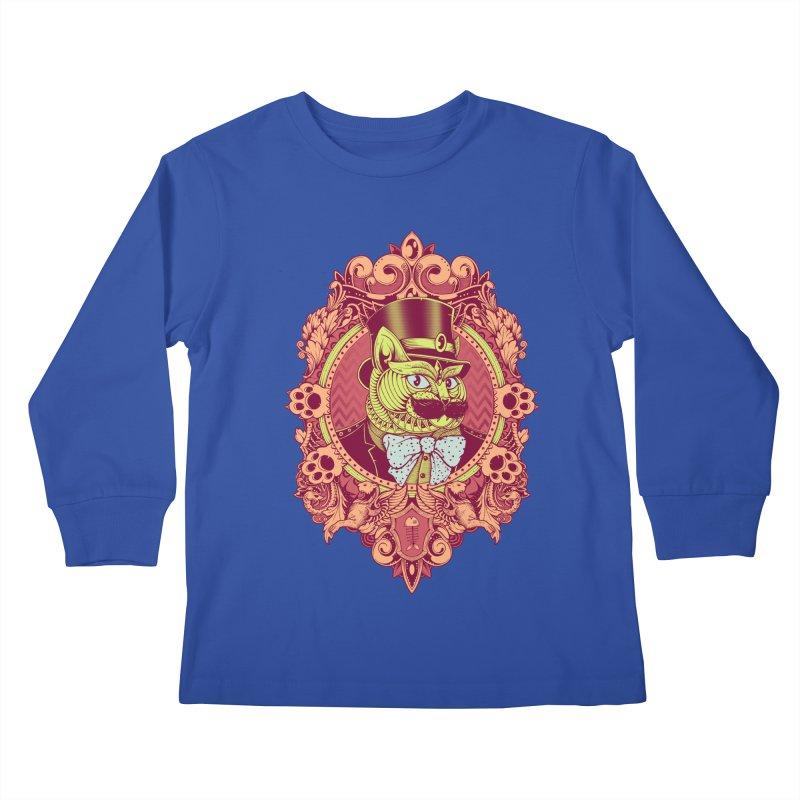 Hipster Mustache Cat Kids Longsleeve T-Shirt by godzillarge's Artist Shop