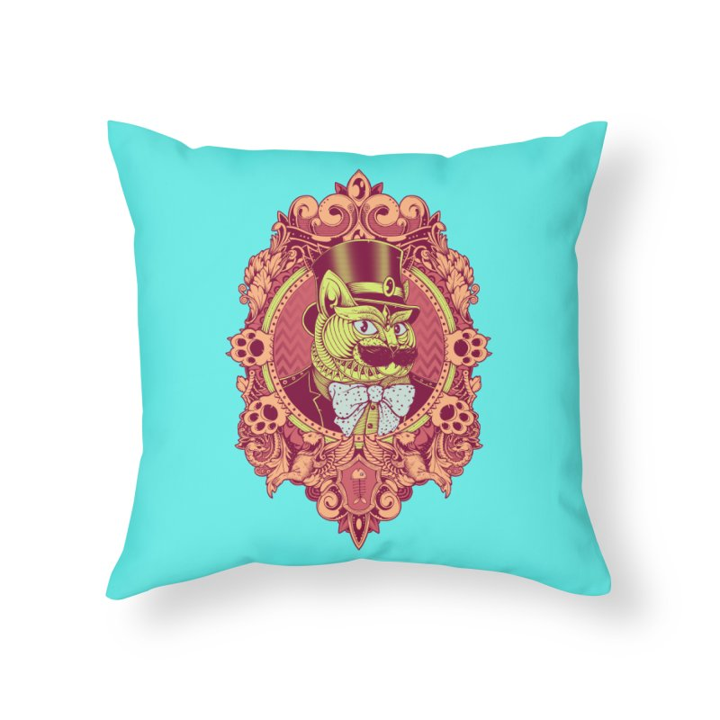 Hipster Mustache Cat Home Throw Pillow by godzillarge's Artist Shop
