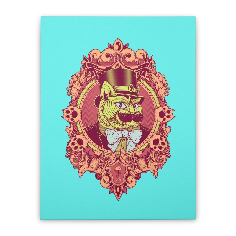 Hipster Mustache Cat Home Stretched Canvas by godzillarge's Artist Shop