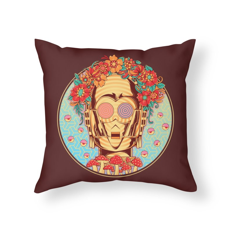 Hippie Droid Home Throw Pillow by godzillarge's Artist Shop