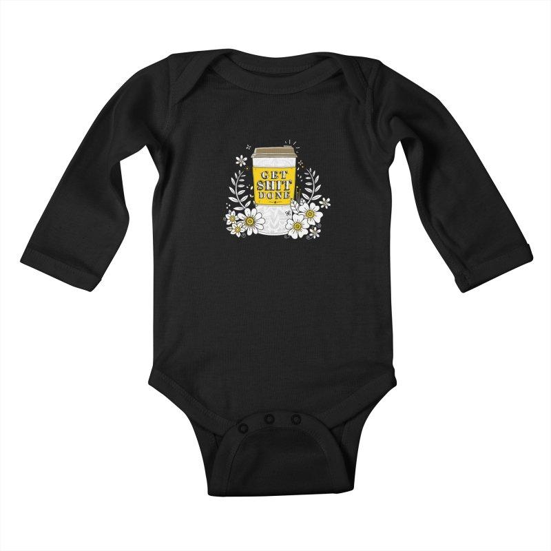 Drink Coffee, Get Shit Done Kids Baby Longsleeve Bodysuit by godzillarge's Artist Shop