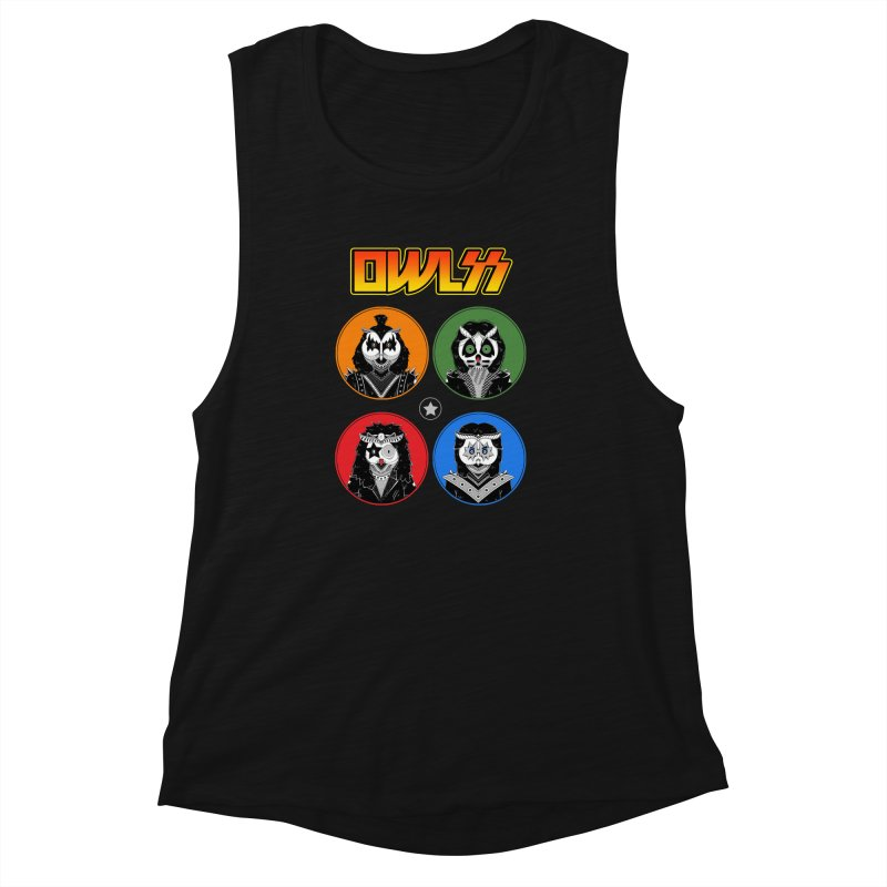 Rock and Owl All Night Women's Muscle Tank by godzillarge's Artist Shop