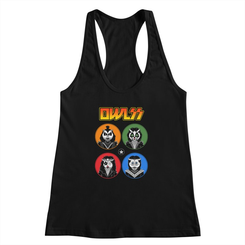 Rock and Owl All Night Women's Racerback Tank by godzillarge's Artist Shop