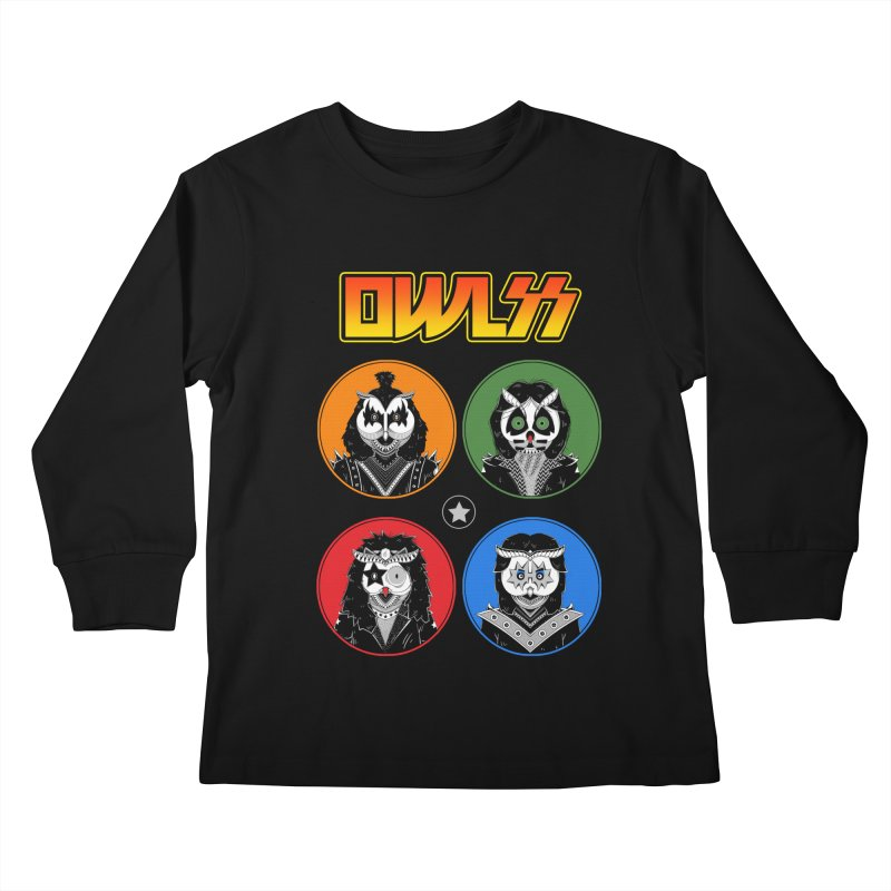 Rock and Owl All Night Kids Longsleeve T-Shirt by godzillarge's Artist Shop