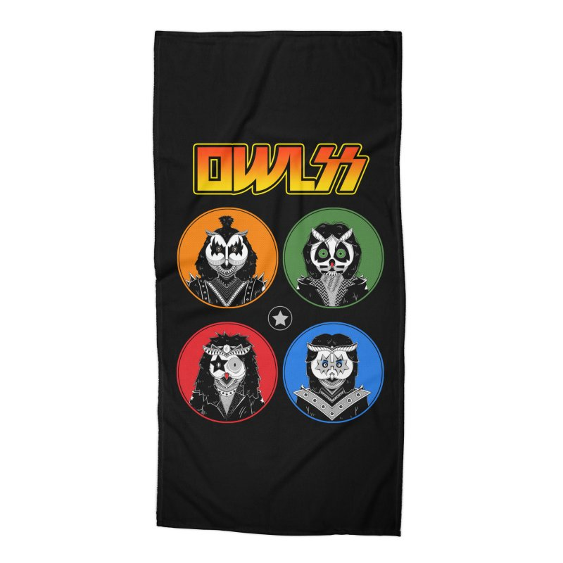 Rock and Owl All Night Accessories Beach Towel by godzillarge's Artist Shop