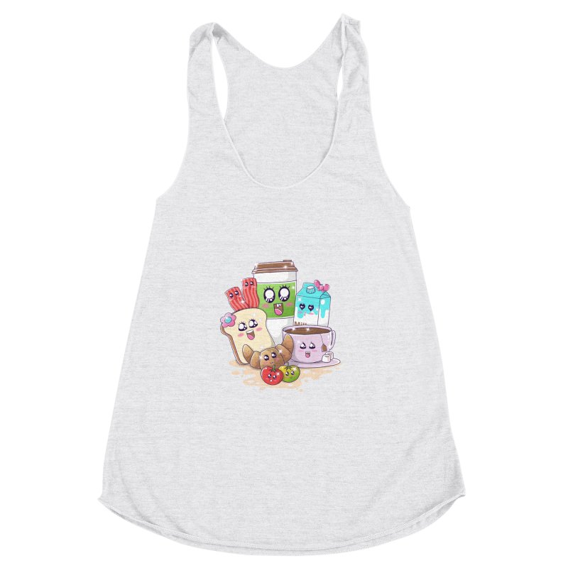 Kawaii Breakfast Women's Racerback Triblend Tank by godzillarge's Artist Shop