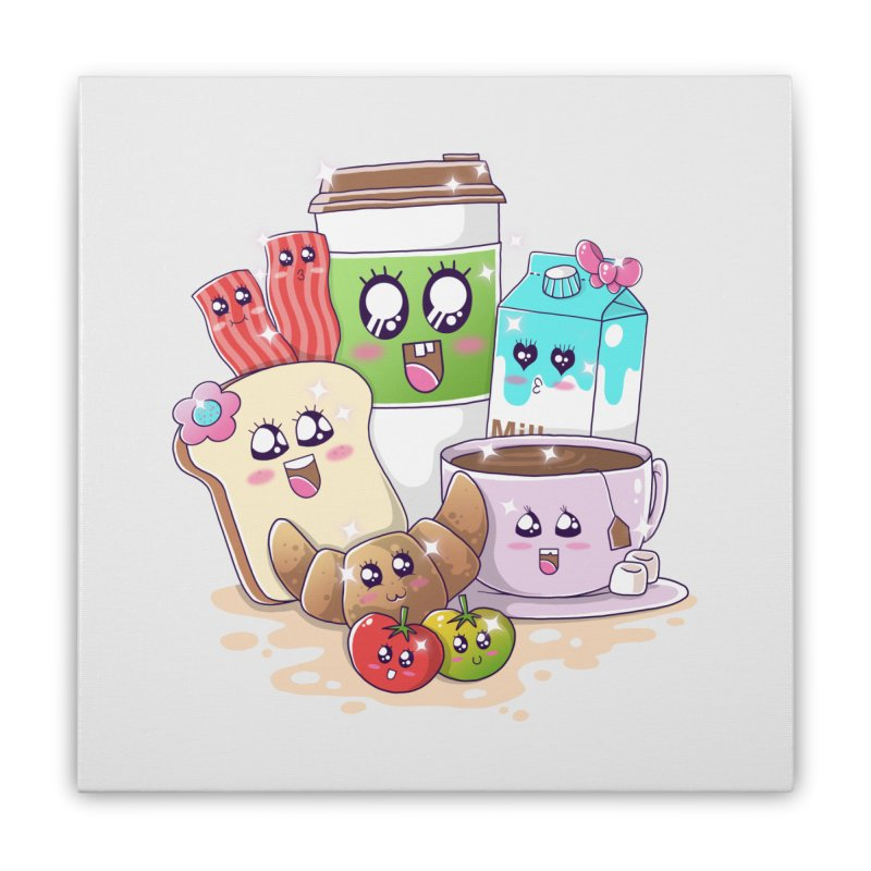 Kawaii Breakfast Home Stretched Canvas by godzillarge's Artist Shop