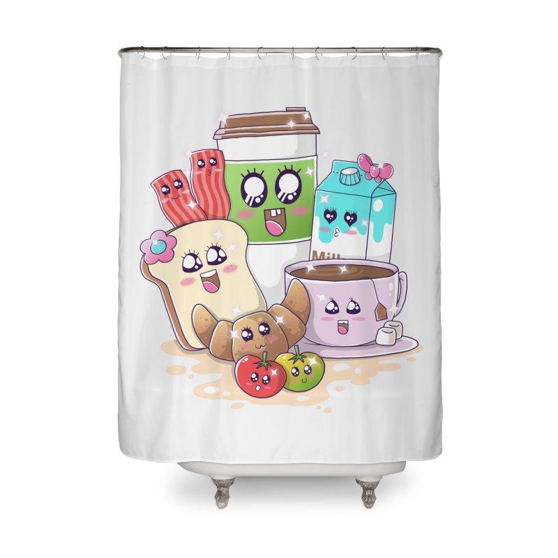 Kawaii Breakfast Home Shower Curtain by godzillarge's Artist Shop
