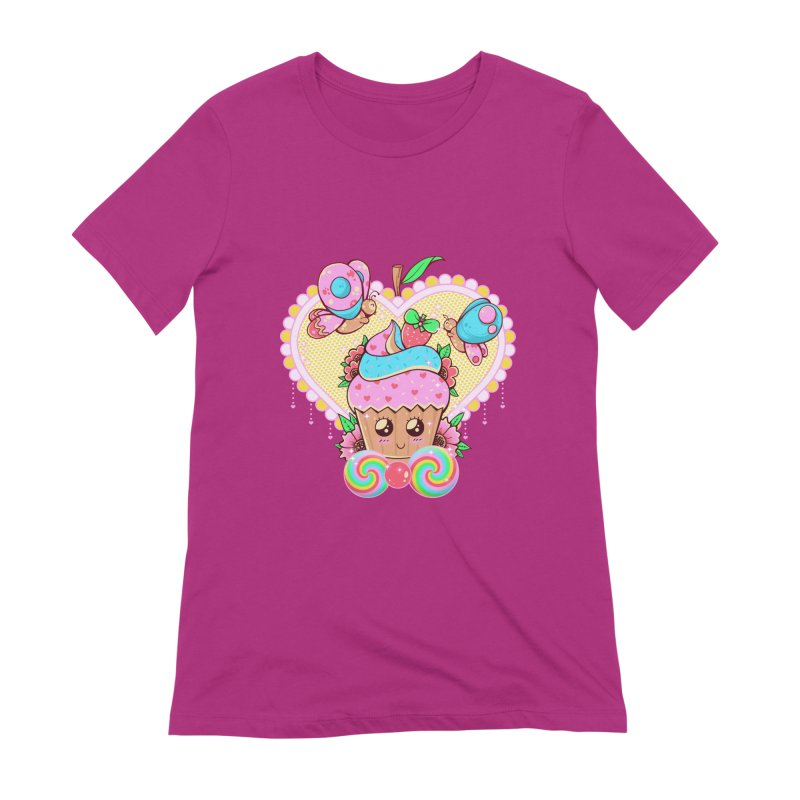 Kawaii Cupcake Women's Extra Soft T-Shirt by godzillarge's Artist Shop