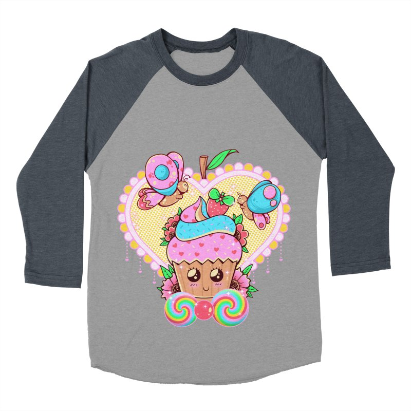 Kawaii Cupcake Women's Baseball Triblend Longsleeve T-Shirt by godzillarge's Artist Shop