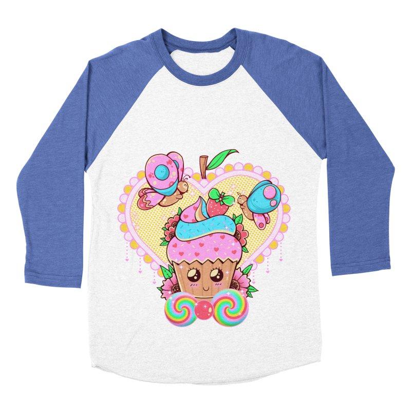Kawaii Cupcake Men's Baseball Triblend Longsleeve T-Shirt by godzillarge's Artist Shop