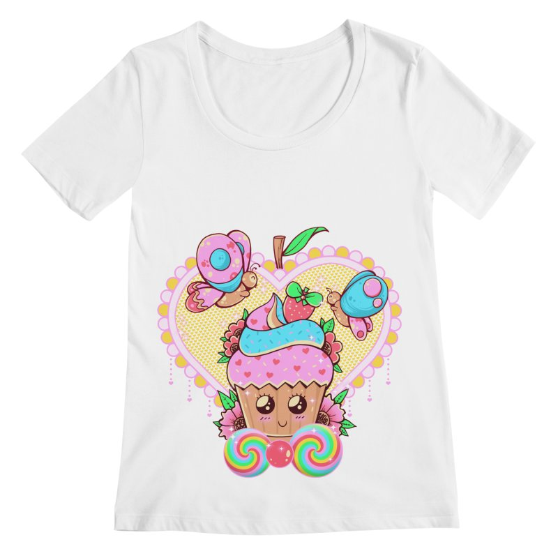 Kawaii Cupcake Women's Regular Scoop Neck by godzillarge's Artist Shop