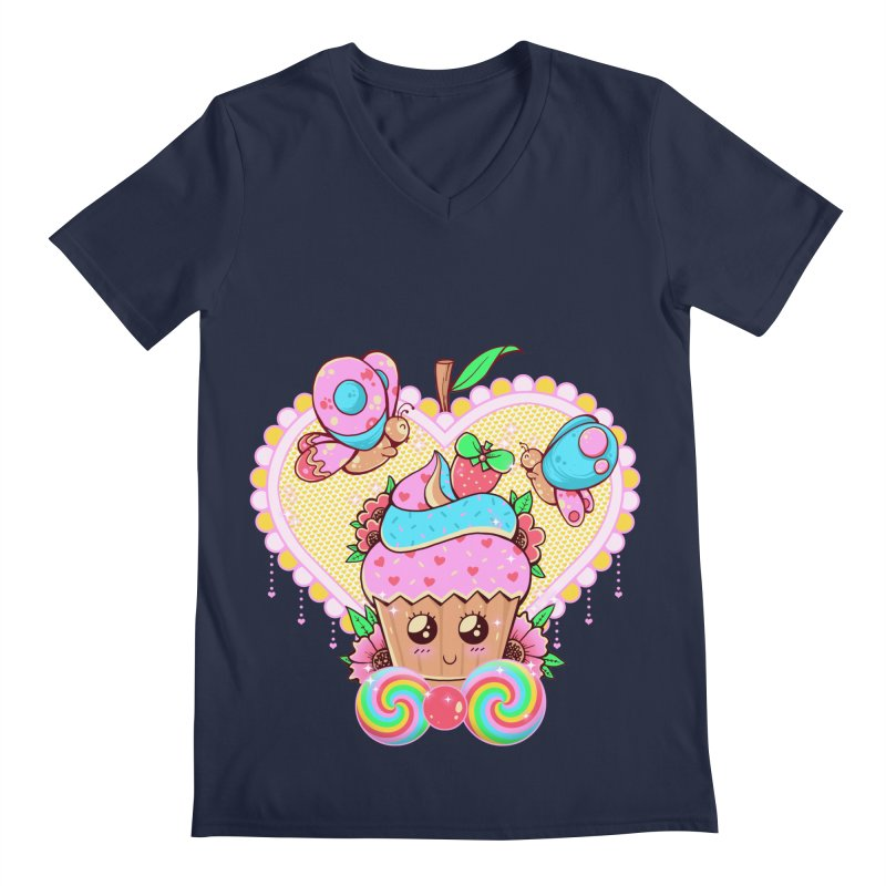 Kawaii Cupcake Men's Regular V-Neck by godzillarge's Artist Shop