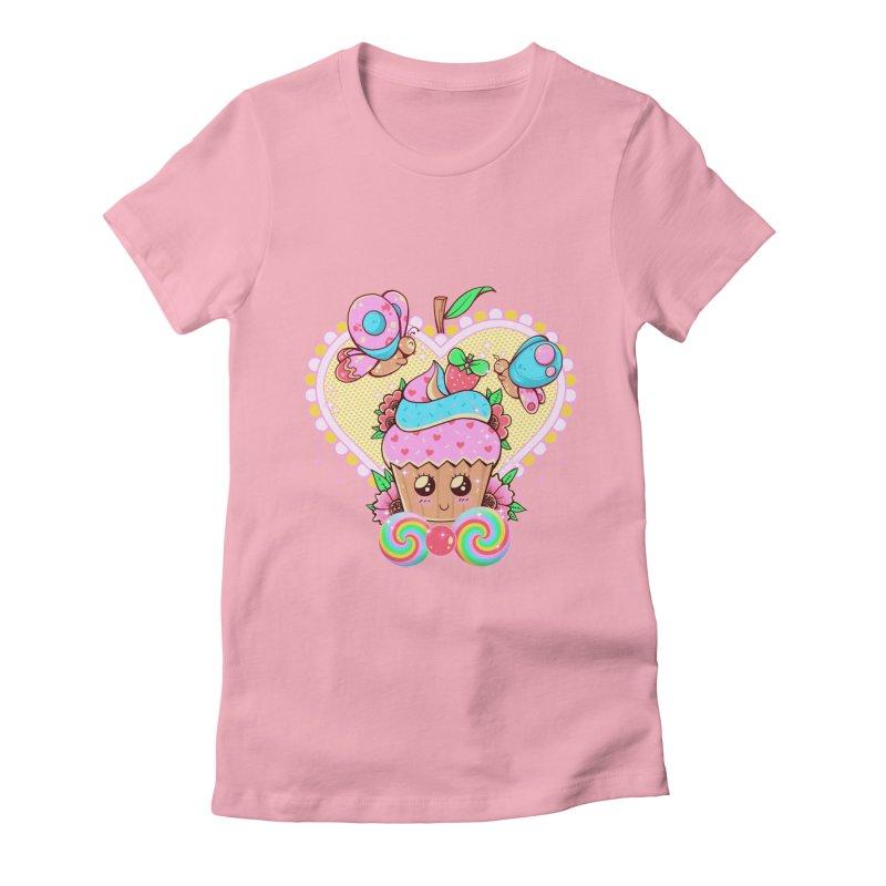 Kawaii Cupcake Women's Fitted T-Shirt by godzillarge's Artist Shop