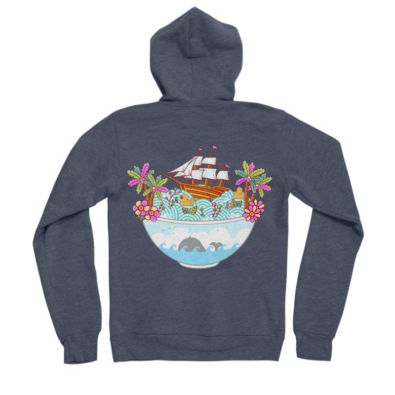 Ocean Adventure Ramen Men's Sponge Fleece Zip-Up Hoody by godzillarge's Artist Shop