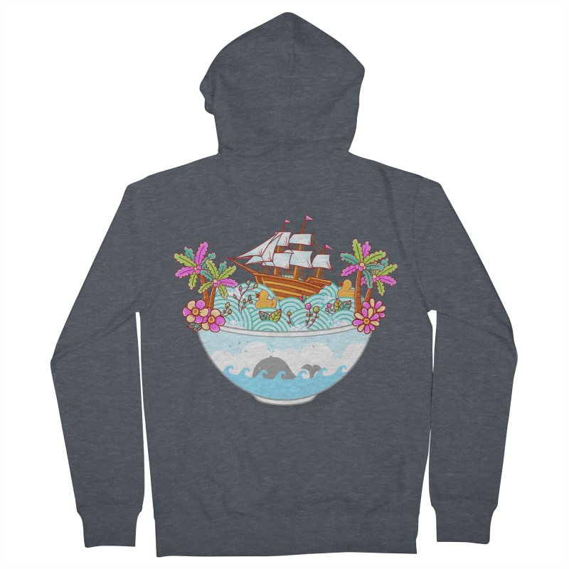 Ocean Adventure Ramen Women's French Terry Zip-Up Hoody by godzillarge's Artist Shop