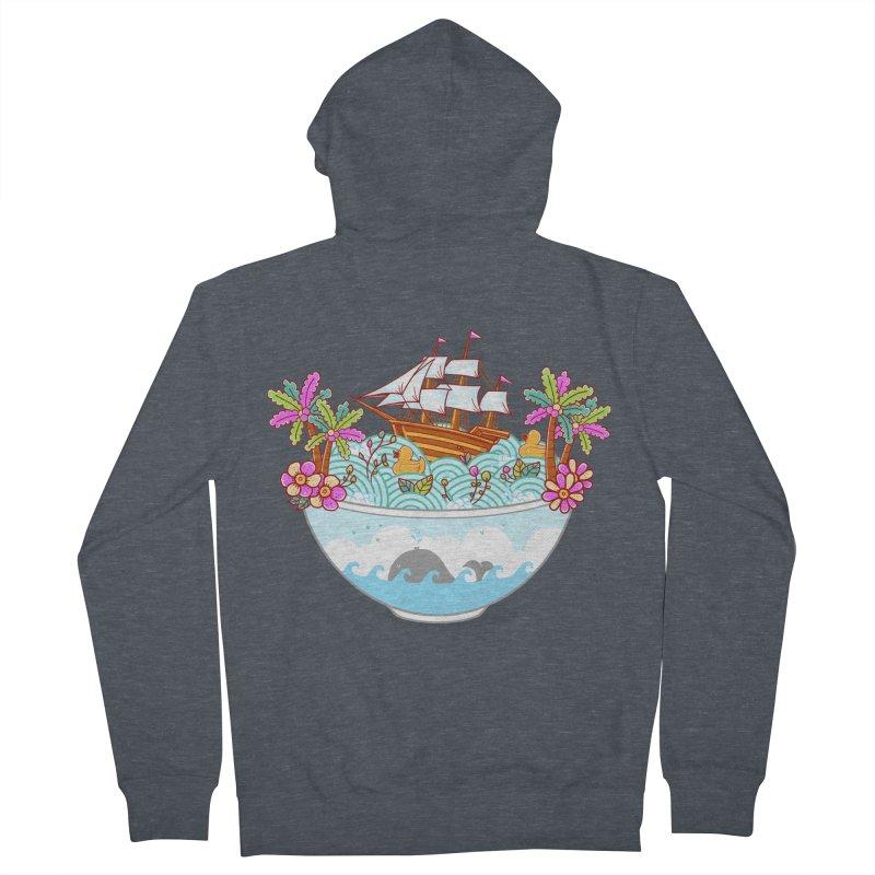 Ocean Adventure Ramen Men's French Terry Zip-Up Hoody by godzillarge's Artist Shop