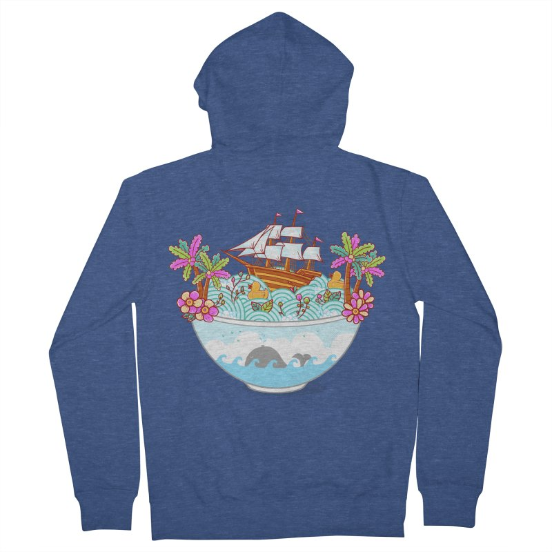 Ocean Adventure Ramen Men's French Terry Zip-Up Hoody by godzillarge's Artist Shop