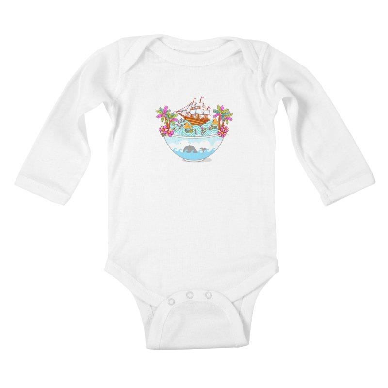 Ocean Adventure Ramen Kids Baby Longsleeve Bodysuit by godzillarge's Artist Shop