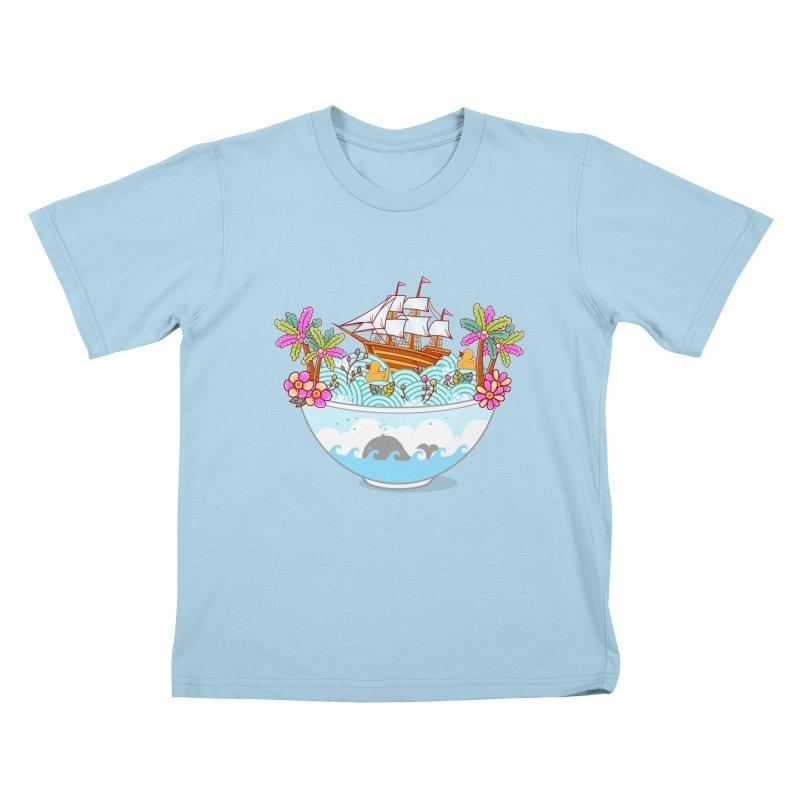 Ocean Adventure Ramen Kids T-Shirt by godzillarge's Artist Shop