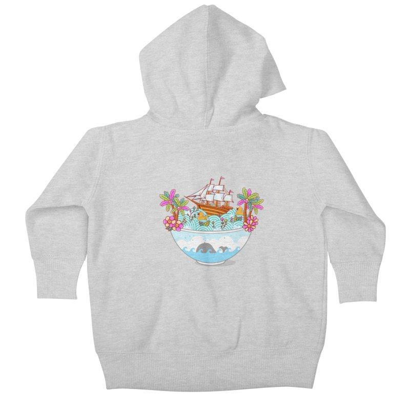 Ocean Adventure Ramen Kids Baby Zip-Up Hoody by godzillarge's Artist Shop