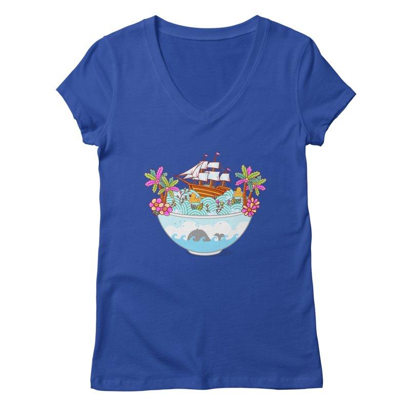 Ocean Adventure Ramen Women's Regular V-Neck by godzillarge's Artist Shop
