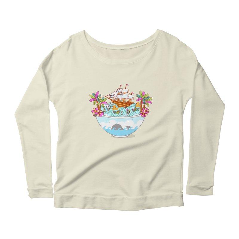 Ocean Adventure Ramen Women's Scoop Neck Longsleeve T-Shirt by godzillarge's Artist Shop
