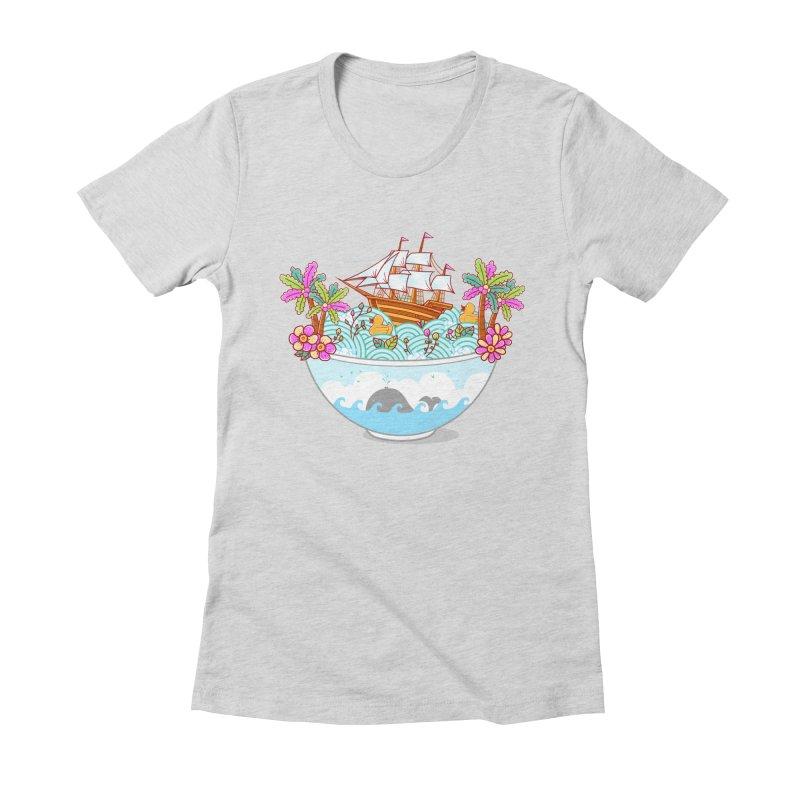 Ocean Adventure Ramen Women's Fitted T-Shirt by godzillarge's Artist Shop