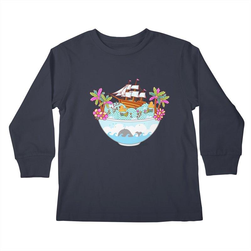 Ocean Adventure Ramen Kids Longsleeve T-Shirt by godzillarge's Artist Shop