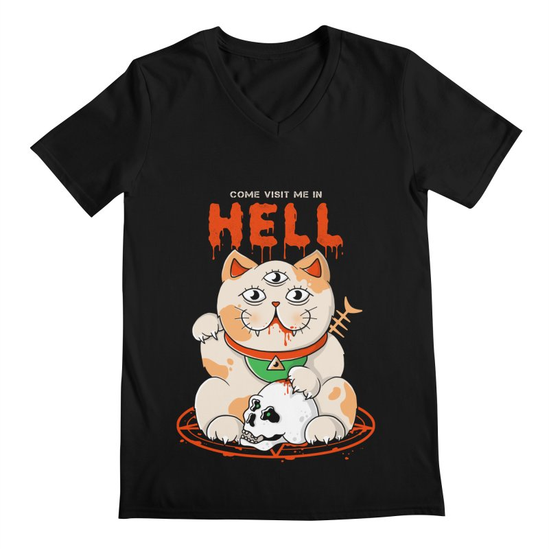 Come Visit Me In Hell Men's Regular V-Neck by godzillarge's Artist Shop