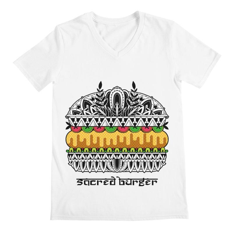 Sacred Burger Men's Regular V-Neck by godzillarge's Artist Shop