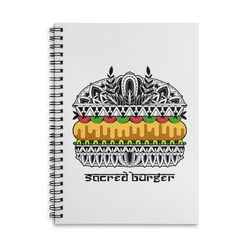 Sacred Burger Accessories Lined Spiral Notebook by godzillarge's Artist Shop