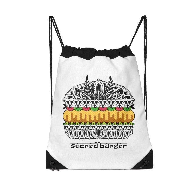 Sacred Burger Accessories Drawstring Bag Bag by godzillarge's Artist Shop