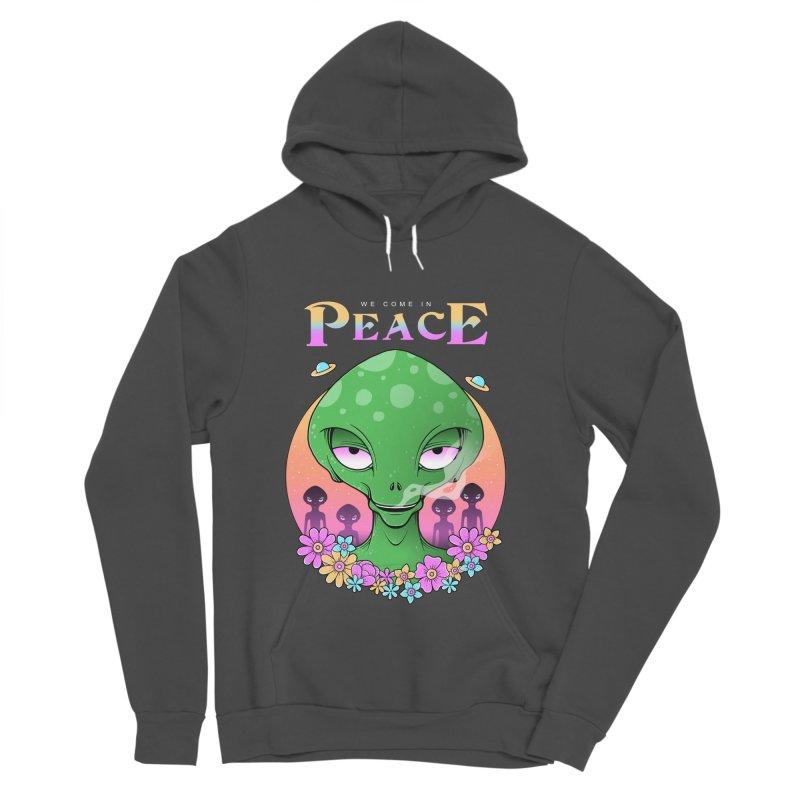 We Come in Peace Women's Sponge Fleece Pullover Hoody by godzillarge's Artist Shop