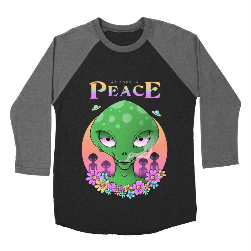 We Come in Peace Women's Baseball Triblend Longsleeve T-Shirt by godzillarge's Artist Shop