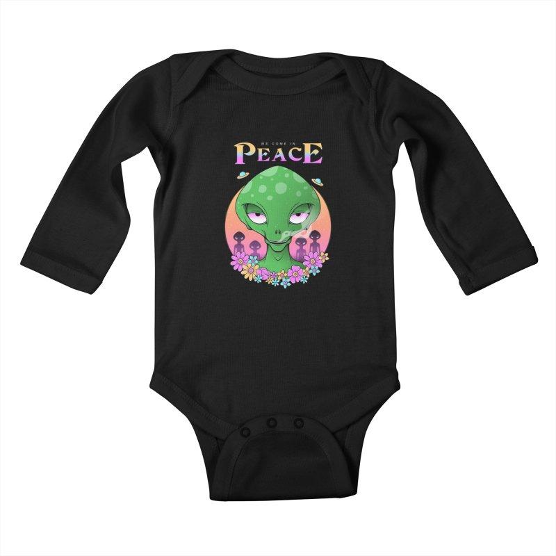 We Come in Peace Kids Baby Longsleeve Bodysuit by godzillarge's Artist Shop